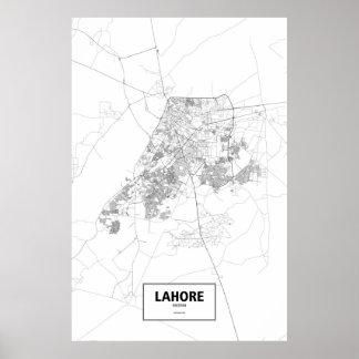 Lahore, Pakistan (black on white) Poster