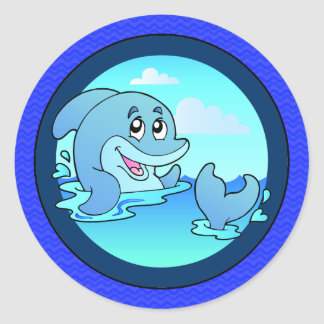 Laid Back Happy Dolphin Classic Round Sticker