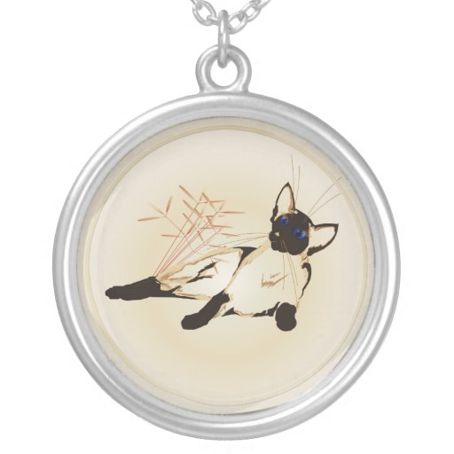 Laid Back Siamese Cat  Necklace