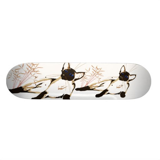 Laid Back Siamese with Leaves Skateboard