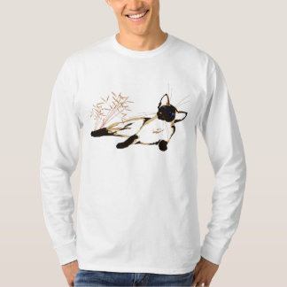 Laid Back Siamese with Leaves wide Shirt