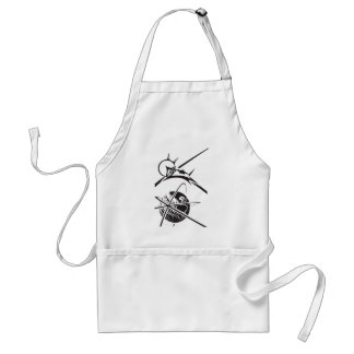 Laika over Earth Black and White Adult Apron