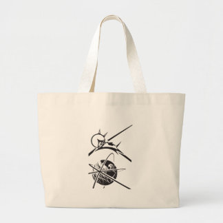 Laika over Earth Black and White Tote Bags