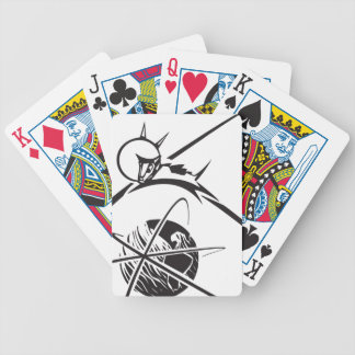 Laika over Earth Black and White Bicycle Playing Cards