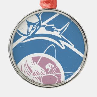 Laika over Earth Metal Ornament