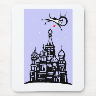 Laika over Red Square Mouse Pad