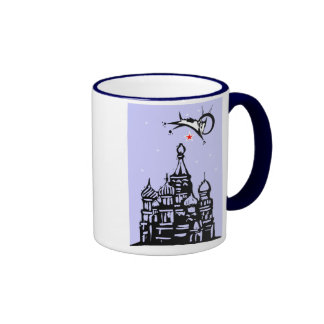 Laika over Red Square Ringer Mug