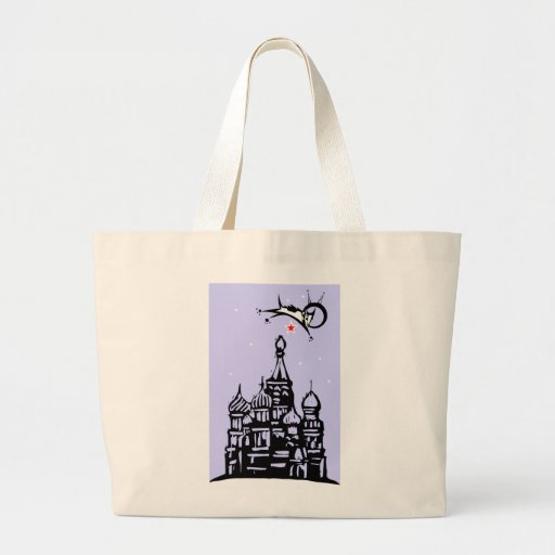 Laika over Red Square Tote Bags