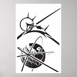 Laika sobre la tierra blanco y negro posters