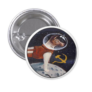 Laika - the first dog in space button