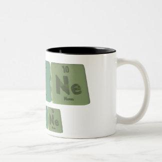 Laine como neón del yodo del lantano tazas de café