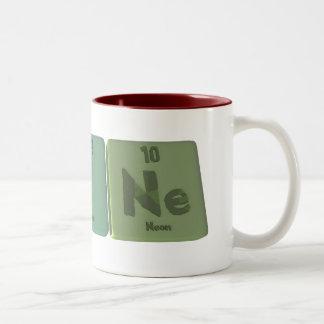 Laine como neón del yodo del lantano taza de café