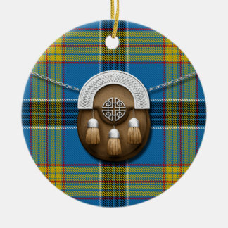 Laing Tartan And Sporran Ceramic Ornament