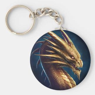 """""""Laira"""" Gold Dragon Basic Round Button Keychain"""