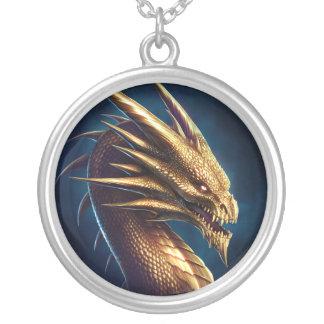 """Laira"" Gold Dragon Round Pendant Necklace"