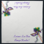 """Laissez Les Bon Temps Rouler! Cloth Napkin<br><div class=""""desc"""">Set of 4 20"""" x 20"""" cloth dinner napkins with an image, on all two corners, of a beautiful purple, green and gold satin mask on a stick with coordinating feathers and ribbons, and green and purple Mardi Gras beads. The phrase """"Laissez Les Bon Temps Rouler"""" (French for &quot;Let the...</div>"""