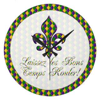 Laissez les Bons Temps Rouler! Mardi Gras Clock d1