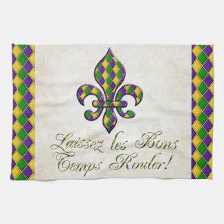 Laissez les Bons Temps Rouler Mardi Gras Fleur d1 Towel