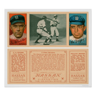 Lajoie en el béisbol 1912 de Brooklyn del palo Poster