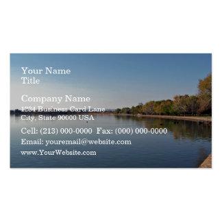 Lake against blue sky business card