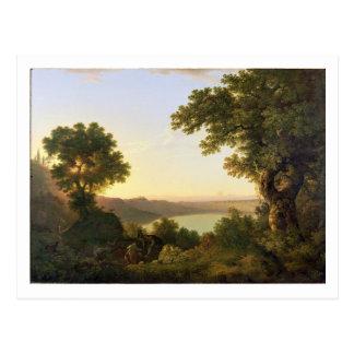 Lake Albano, Italy, 1777 (oil on canvas) Postcard