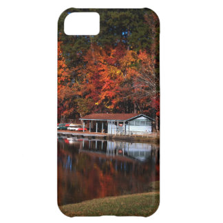 Lake and Boat Dock in Autumn iphone 5 Case
