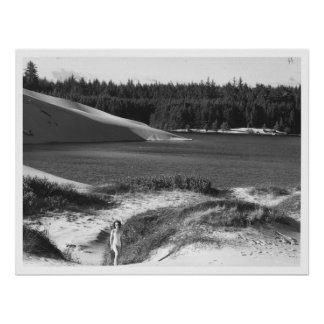 Lake and Dunes near Florence, Oregon Vintage Posters