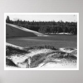 Lake and Dunes near Florence, Oregon Vintage Poster