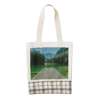 Lake and mountains landscape zazzle HEART tote bag