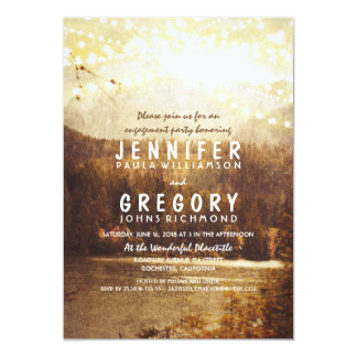 Lake and Mountains Rustic Engagement Party Card