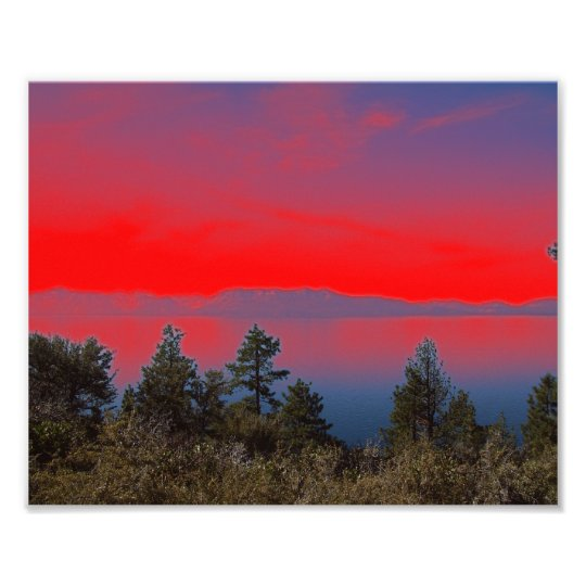 Lake And Red Sky Photo Print