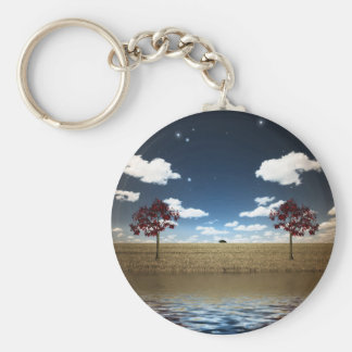 Lake and red trees keychain