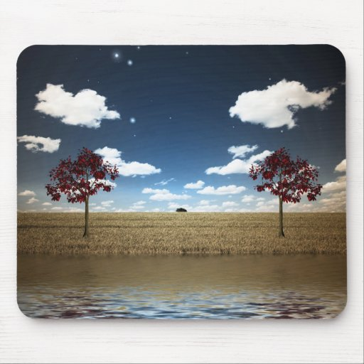 Lake and red trees mousepads