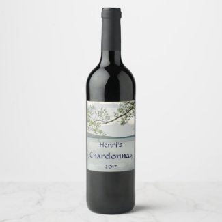 Lake and Willow Tree White Wine Label