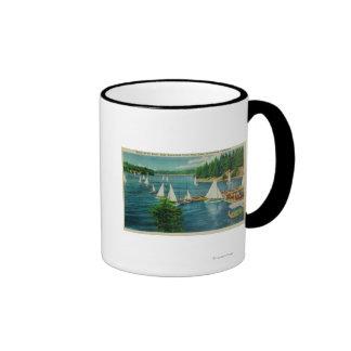 Lake Arrowhead, CA Yacht Club Racing Ringer Coffee Mug