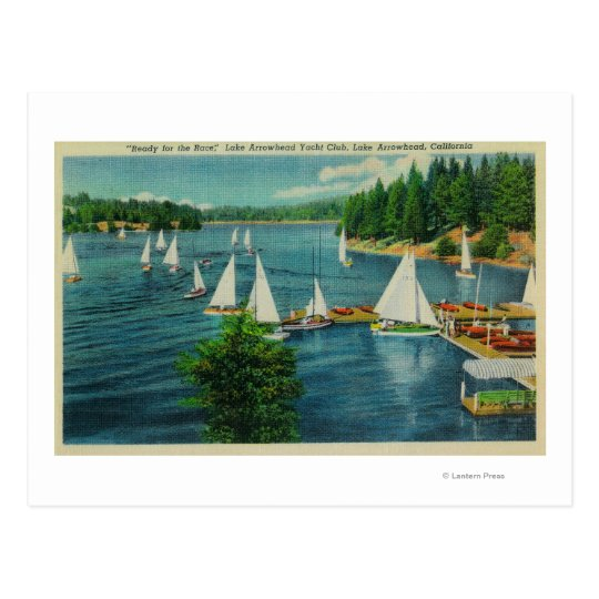 Lake Arrowhead, CA Yacht Club Racing Postcard