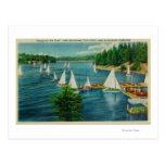 Lake Arrowhead, CA Yacht Club Racing Postcards