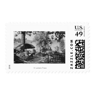 Lake Arrowhead, California Lodge View & Terrace Postage Stamp