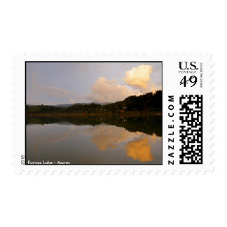 Lake at sunset stamps