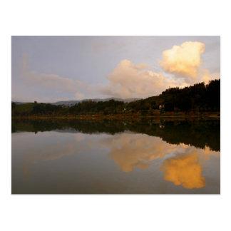 Lake at sunset postcard