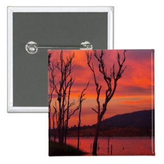Lake Awoonga sunset square badge Pinback Button