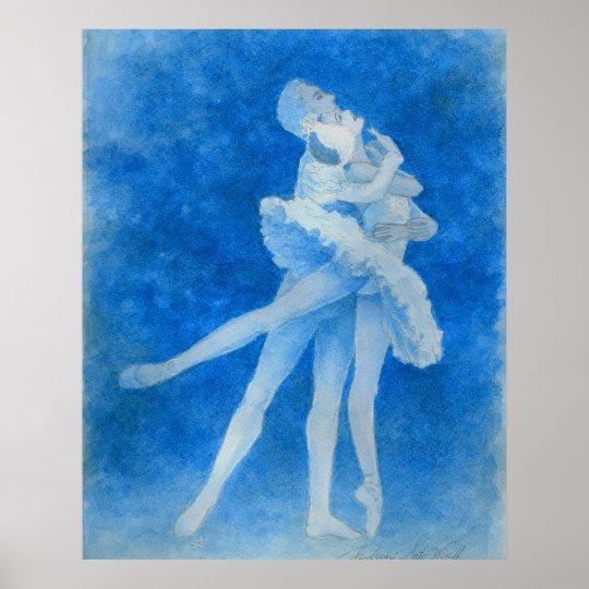 Lake ballet art print of swan