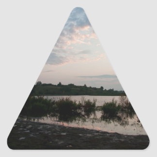 Lake before dawn triangle sticker