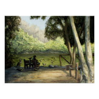 Lake Bench : A Nature Painting Poster