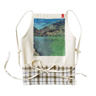 Lake between the mountains zazzle HEART apron