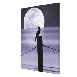 Lake Bird and Full Moon Canvas Art Print