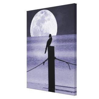 Lake Bird and Full Moon Canvas Art Print