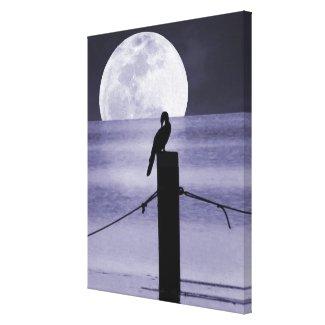 Lake Bird and Full Moon Canvas Art Print Canvas Prints
