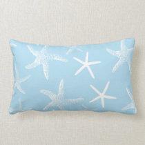 Lake Blue and White Starfish Pattern Pillow