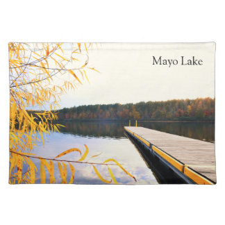 Lake Boat Dock in Autumn Cloth Placemat